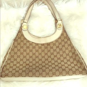🔱 GUCCI VINTAGE Ivory Leather GG Monogram Canvas